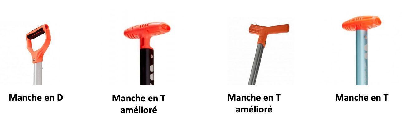 Types de poignées de pelle : tout Mammut sauf 3ème exemple : Ortovox Pro Alu 3